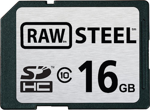 Hoodman's RAW STEEL 16GB Class 10 ruggedized SDHC card. Image provided by Hoodman Corp. Click for a bigger picture!