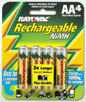 Rayovac's new long-life NiMH rechargeable batteries. Courtesy of Rayovac.