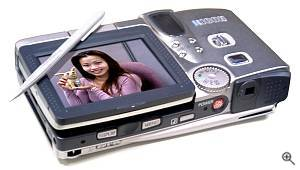 Ricoh's RDC-i700 'digital imaging tool', rear left quarter view with LCD screen folded down in the
