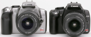 Canon's EOS Digital Rebel compared with the Digital Rebel XT. Courtesy of Canon, with modifications by Michael R. Tomkins. Click for a bigger picture!