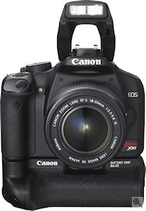 Canon's EOS Rebel XSi digital SLR. Courtesy of Canon, with modifications by Michael R. Tomkins. Click for a bigger picture!