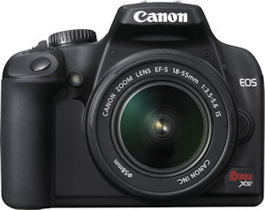 Canon's EOS Rebel XS digital camera. Courtesy of Canon, with modifications by Michael R. Tomkins. Click for a bigger picture!