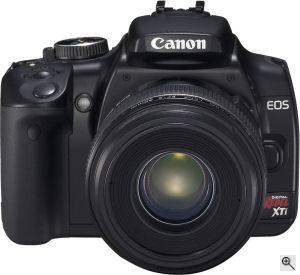 Canon's EOS Digital Rebel XTi digital SLR. Courtesy of Canon, with modifications by Michael R. Tomkins. Click for a bigger picture!