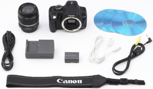 Canon's EOS Digital Rebel XT kit with lens. Courtesy of Canon, with modifications by Michael R. Tomkins. Click for a bigger picture!