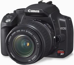 Canon's EOS Digital Rebel XT. Courtesy of Canon, with modifications by Michael R. Tomkins. Click for a bigger picture!