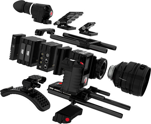 "RED Scarlet FF35 6K exploded view, showing many of the accessory attachments and modules, including: RED DSMC Shoulder Mount, REDhandle, RED Bottom Grip, RED PL Lens Mount, RED Expansion Adaptor, RED I/O Expansion Module, RED Battery Expansion Module, REDmote Control, RED BombEVF, RED 3"" LCD, RED 4.8"" LCD, RED Top Mount and RED Rails. Photo and caption provided by RED Digital Cinema Camera Co. Click for a bigger picture!"