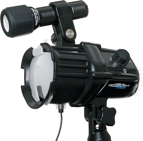 Fantasea's Remora slave flash strobe with flash diffuser and focus light. Photo provided by Fantasea Line. Click for a bigger picture!