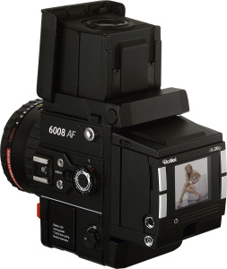Rollei's 6008 AF medium format camera with PhaseOne db20p digital back. Courtesy of Rollei, with modifications by Michael R. Tomkins. Click for a bigger picture!