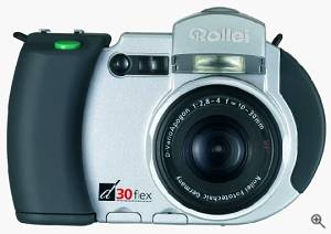Rollei's d 30 flex digital camera, front view. Courtesy of Rollei - click for a bigger picture!
