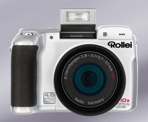 Rollei's dk4010 digital camera. Courtesy of Rollei, with modifications by Michael R. Tomkins. Click for a bigger picture!