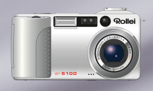 Rollei's dr5100 digital camera. Courtesy of Rollei, with modifications by Michael R. Tomkins. Click for a bigger picture!