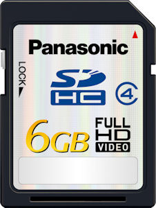 Panasonic's RP-SDM06G 6GB SDHC card. Courtesy of Panasonic, with modifications by Michael R. Tomkins. Click for a bigger picture!
