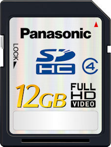Panasonic's RP-SDM12G 12GB SDHC card. Courtesy of Panasonic, with modifications by Michael R. Tomkins. Click for a bigger picture!