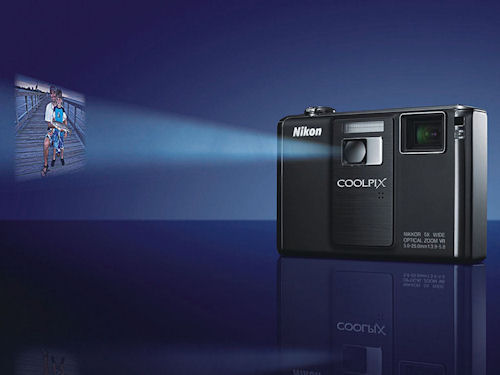 The Nikon Coolpix S1000pj is the first digital camera to include a built-in projector. Photo provided by Nikon Inc. Click for a bigger picture!