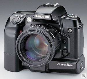 Fuji's S1 Pro SLR digital camera, front view.  Courtesy of Fuji - click for a bigger picture!