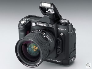 FujiFilm's FinePix S2 Pro digital camera. Courtesy of FujiFilm, with modifications by Michael R. Tomkins. Click for a bigger picture!