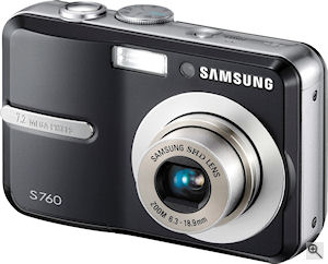 Samsung's S760 digital camera. Courtesy of Samsung, with modifications by Michael R. Tomkins. Click for a bigger picture!