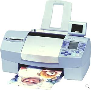 Canon's S820D Bubble Jet printer with optional LCD image viewer attached. Courtesy of Canon, with modifications by Michael R. Tomkins. Click for a bigger picture!