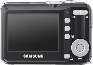 Samsung's S860 digital camera. Courtesy of Samsung, with modifications by Michael R. Tomkins. Click for a bigger picture!