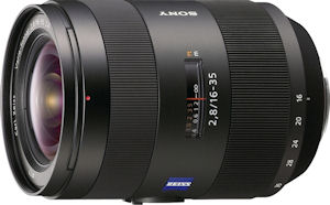Sony's Vario Sonnar T* 16-35mm f/2.8 ZA Carl Zeiss Series lens. Courtesy of Sony, with modifications by Michael R. Tomkins. Click for a bigger picture!