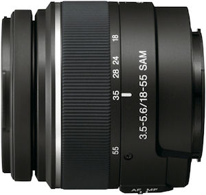 Sony's DT 18-55mm F/3.5-5.6 zoom lens. Photo provided by Sony Electronics Inc. Click for a bigger picture!