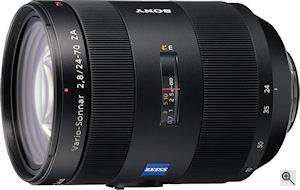 Sony's Vario Sonnar T* 24-70mm f/2.8 ZA lens. Courtesy of Sony, with modifications by Michael R. Tomkins. Click for a bigger picture!