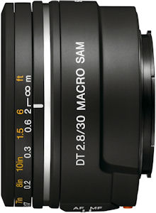 Sony's DT 30mm F/2.8 lens. Photo provided by Sony Electronics Inc. Click for a bigger picture!