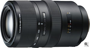 Sony's 70-300mm f/4.5-5.6 G lens. Courtesy of Sony, with modifications by Michael R. Tomkins. Click for a bigger picture!