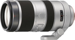Sony's 70-400mm f/4-5.6 G Series lens. Courtesy of Sony, with modifications by Michael R. Tomkins. Click for a bigger picture!
