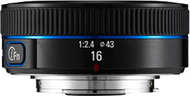 The Samsung 16mm F2.4 NX lens. Photo provided by Samsung Electronics Co., Ltd.