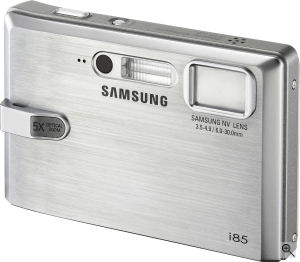 Samsung's i85 digital camera. Courtesy of Samsung, with modifications by Michael R. Tomkins. Click for a bigger picture!