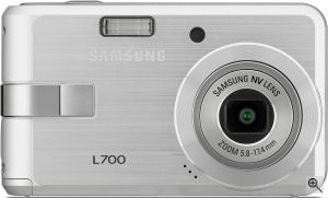 Samsung's L700 digital camera. Courtesy of Samsung, with modifications by Michael R. Tomkins. Click for a bigger picture!