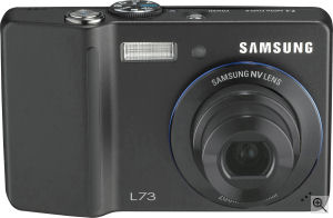 Samsung's L73 digital camera. Courtesy of Samsung, with modifications by Michael R. Tomkins. Click for a bigger picture!