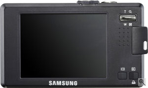 Samsung's L74 Wide digital camera. Courtesy of Samsung, with modifications by Michael R. Tomkins. Click for a bigger picture!