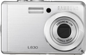 Samsung's L830 digital camera. Courtesy of Samsung, with modifications by Michael R. Tomkins. Click for a bigger picture!