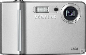 Samsung's L83T digital camera. Courtesy of Samsung, with modifications by Michael R. Tomkins. Click for a bigger picture!