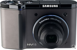 Samsung's NV15 digital camera. Courtesy of Samsung, with modifications by Michael R. Tomkins. Click for a bigger picture!