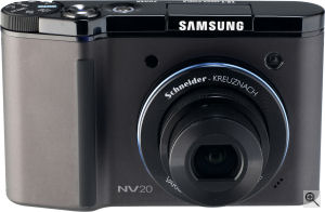 Samsung's NV20 digital camera. Courtesy of Samsung, with modifications by Michael R. Tomkins. Click for a bigger picture!