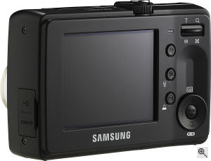 Samsung's S730 digital camera. Courtesy of Samsung, with modifications by Michael R. Tomkins. Click for a bigger picture!