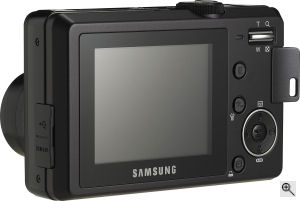 Samsung's S850 digital camera. Courtesy of Samsung, with modifications by Michael R. Tomkins. Click for a bigger picture!
