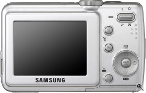 Samsung's S85 digital camera. Courtesy of Samsung, with modifications by Michael R. Tomkins. Click for a bigger picture!