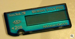 SanDisk's 2GB Memory Stick PRO card. Copyright © 2003, The Imaging Resource. All rights reserved. Click for a bigger picture!