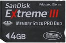 SanDisk 4GB Extreme III MS PRO Duo card. Courtesy of SanDisk, with modifications by Zig Weidelich