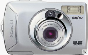 Sanyo's DSC-S1 digital camera. Courtesy of Sanyo, with modifications by Michael R. Tomkins. Click for a bigger picture!
