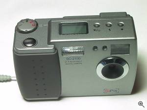 SiPix's SC-2100 digital camera, upper front view. Copyright (c) 2001, Michael R. Tomkins, all rights reserved. Click for a bigger picture!