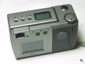 SiPix's SC-2100 digital camera, upper rear view. Copyright (c) 2001, Michael R. Tomkins, all rights reserved. Click for a bigger picture!