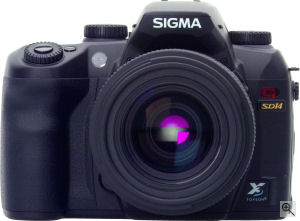 Sigma's SD14 digital SLR. Courtesy of Sigma, with modifications by Michael R. Tomkins. Click for a bigger picture!