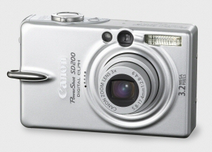 Canon's PowerShot SD200 Digital ELPH. Courtesy of Canon, with modifications by Michael R. Tomkins. Click for a bigger picture!