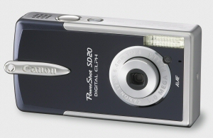 Canon's PowerShot SD20 Digital ELPH. Courtesy of Canon, with modifications by Michael R. Tomkins. Click for a bigger picture!