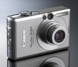Canon's PowerShot SD300 Digital ELPH. Courtesy of Canon, with modifications by Michael R. Tomkins. Click for a bigger picture!